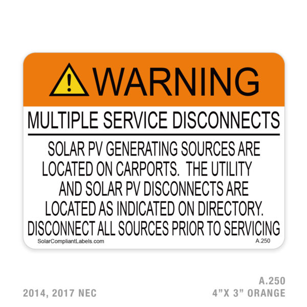 WARNING MULTIPLE SERVICE DISCONNECTS - 250 LABEL