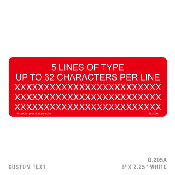 CUSTOM TEXT 5 LINES - 205 LABEL